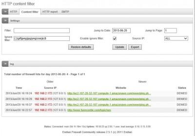 Contentfilter log